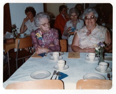 Photograph of Mrs. Floyd Harnden, Shirley Johnston and Dora Grant, 50th Anniversary, Colborne Women's Institute, Colborne Women's Institute Scrapbook