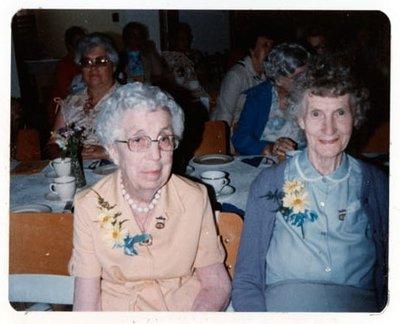 Photograph of Vera Kernaghan, Mrs. Ellen MacGregor and Shirley Johnston, 50th Anniversary, Colborne Women's Institute, Colborne Women's Institute Scrapbook