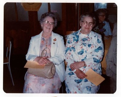 Photograph of Mrs. Robert McCulloch and Mrs. Eunice Gaudaur, 50th Anniversary, Colborne Women's Institute, Colborne Women's Institute Scrapbook