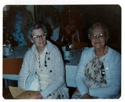 Photograph of Mrs. Irene Simpson and Mrs. Winnie Bilcox, 50th Anniversary, Colborne Women's Institute, Colborne Women's Institute Scrapbook