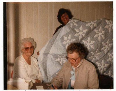 Photograph of Cathy Mayne, Betty Allen and Irene Tattersall, Colborne Women's Institute Scrapbook