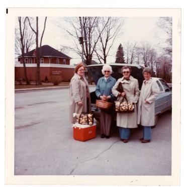 Photograph of Barbara Kremer, Kathy Mayne, Irene Tattersall and Elizabeth Rutherford, Colborne Women's Institute Scrapbook