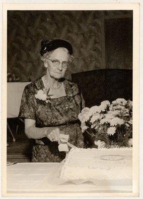 Photograph of Mrs. James Black, East Northumberland District Women's Institute 60th Anniversary, Colborne Women's Institute Scrapbook