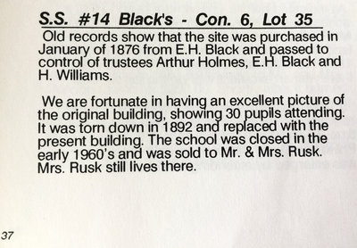 1988 text about history of Black's School, School Section 14, Cramahe Township