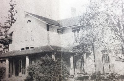 Newspaper clipping photograph of Belleview, Colborne, Ontario, home of the Campbell and McTavish side of Enid Rogers' family