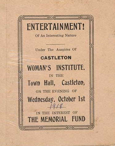 Memorial Fund Programme, Castleton Women's Institute members, 1918