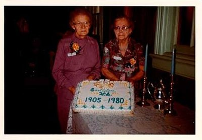 Photographs of Hazel Harnden and Beth Carr, Castleton Women's Institute members, 75th Anniversary, 1980