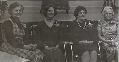 Photograph of Myrtle Ducie, Muriel White, Beatrice Turney and Bernice Tait, Castleton Women's Institute members, 75th Anniversary, 1980, Castleton Women's Institute Scrapbook