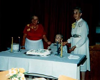 Photograph of Lenore Mutton, Beth Carr and Mary McKague, Castleton Women's Institute members, 85th Anniversary, 1990