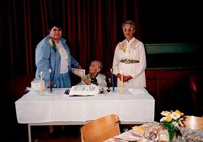 Photograph of Jean Wilson, Beth Carr and Mary McKague, Castleton Women's Institute members, 85th Anniversary, 1990