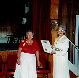 Photographs of Lenore Mutton and Mary McKague, Castleton Women's Institute members, 85th Anniversary, 1990