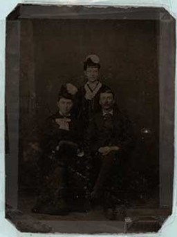 Tintype photograph of David Robert Dingwall II and two of his sisters and Dingwall family history, Castleton Women's Institute scrapbook