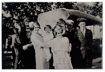 Photograph of Margaret, Sara, Lorne, Lettie, Alex, Grace, McComb, Verna and Una McComb, and McComb family history, Castleton Women's Institute scrapbook
