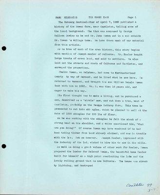 Family history of Bowen farm, Castleton Women's Institute scrapbook