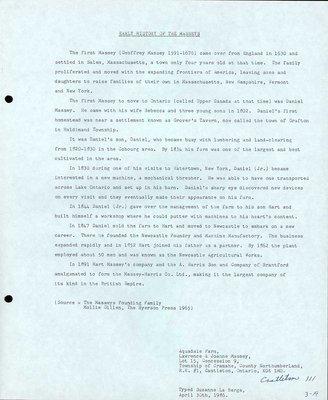 Family history of Massey farm, Castleton Women's Institute scrapbook