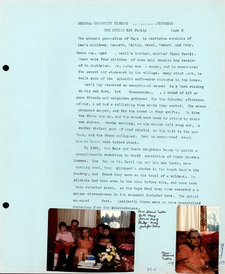 Family history of Phillip May farm, Castleton Women's Institute scrapbook