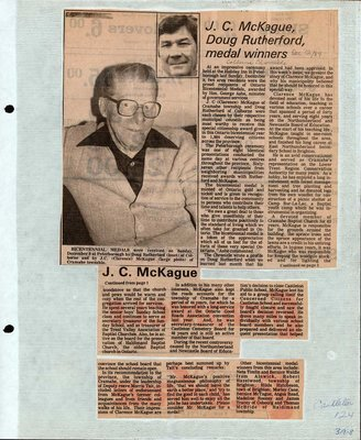 Newspaper clipping about J.C. McKague and Doug Rutherford, Castleton Women's Institute scrapbook