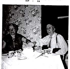 Photograph of Fred  Warner (1898-1958) and Nina Black (b.1907) and Warner and Black family history, Castleton Women's Institute scrapbook