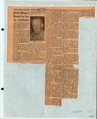 Newspaper clipping about Bowen family, Castleton Women's Institute scrapbook