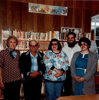 Photograph of Cramahe Township Public Library Board - Gwen Lawrensen, Marvin McComb, Shirley Palmer, Alvin Jones, and Jean Mounsteven
