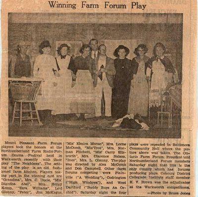 Winning Farm Forum Play newspaper clipping