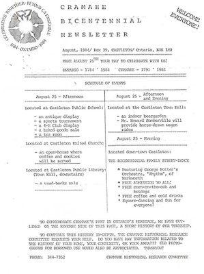 Cramahe Bicentennial Newsletter with a short history on Cramahe Township, 1984