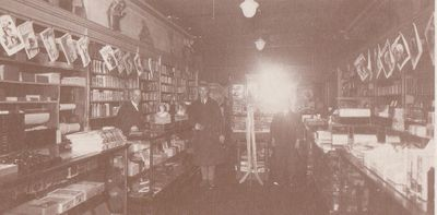 Photograph of interior of Griffis drug store, Colborne, Cramahe Township, ca. 1920s
