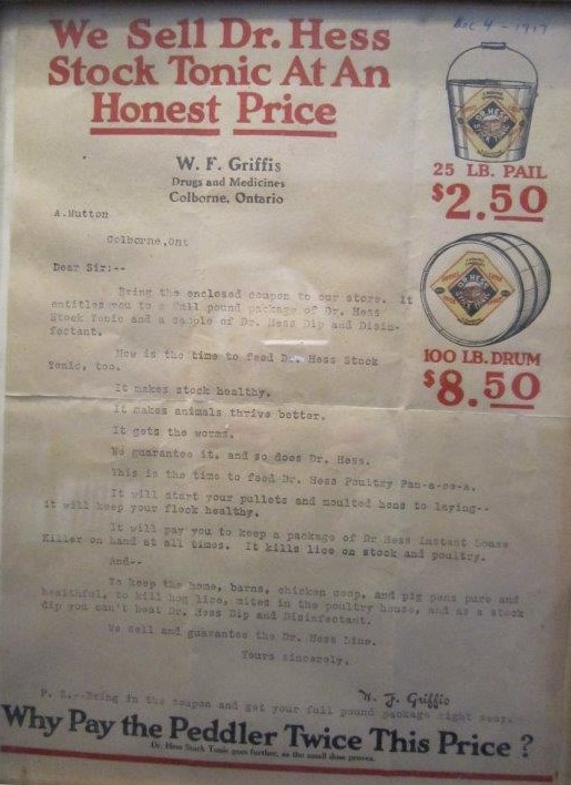 W. F. Griffis letter, Dr. Hess Stock Tonic, Griffis Drug Store, Colborne, Cramahe Township
