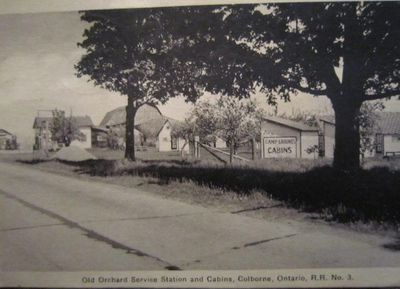 Postcard of Old Orchard Service Station and Cabins, Colborne, Cramahe Township