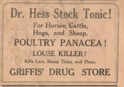 1917 advertising, Griffis Drug Store, Colborne, Cramahe Township
