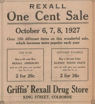 1927 advertising, Griffis Rexall Drug Store, Colborne, Cramahe Township