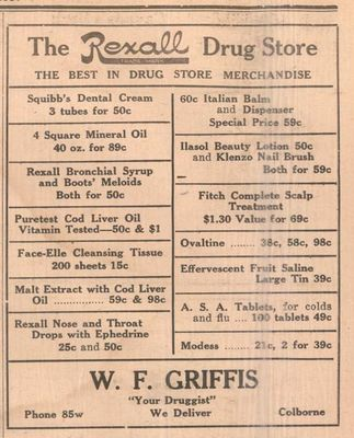 1937 Advertising, Griffis Rexall Drug Store, Colborne, Cramahe Township