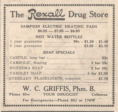 1948 advertising, Griffis Rexall Drug Store, Colborne, Cramahe Township