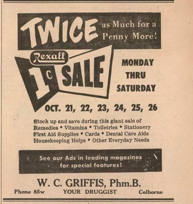 1957 advertising, Griffis Rexall Drug Store, Colborne, Cramahe Township