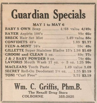 1967 advertising, Griffis Guardian Drug Store, Colborne, Cramahe Township