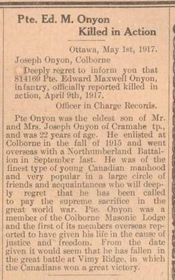 Exhibit, WWI Letters, Colborne Express, 3 May 1917, Onyon