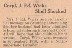 Exhibit, WWI Letters, Colborne Express, 3 May 1917, Wicks