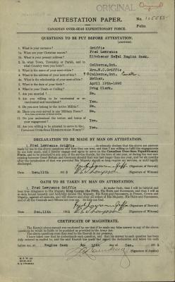 Fred Lawrence Griffis, Service Files, WWI, Cramahe Township