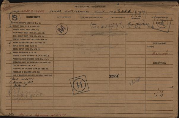 James Mathias Snetsinger, Service Files, WWI, Cramahe Township