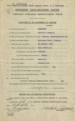 Archibald McGlennon, Service Files, WWI, Cramahe Township