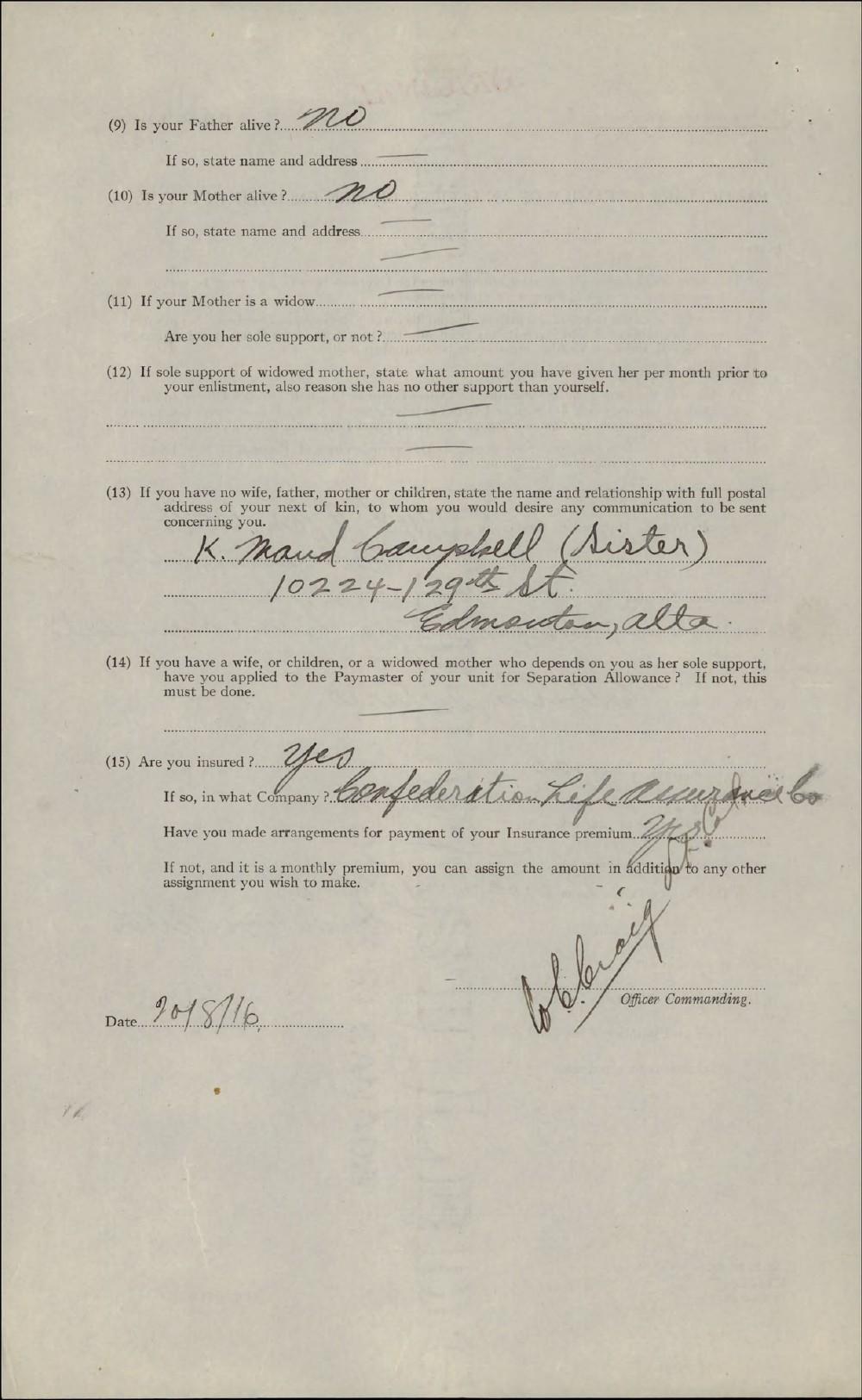 Lorne Douglas Campbell, Service Files, WWI, Cramahe Township