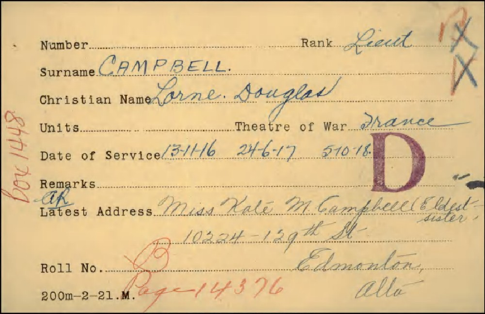 Lorne Douglas Campbell, Service Files, WWI, Cramahe Township