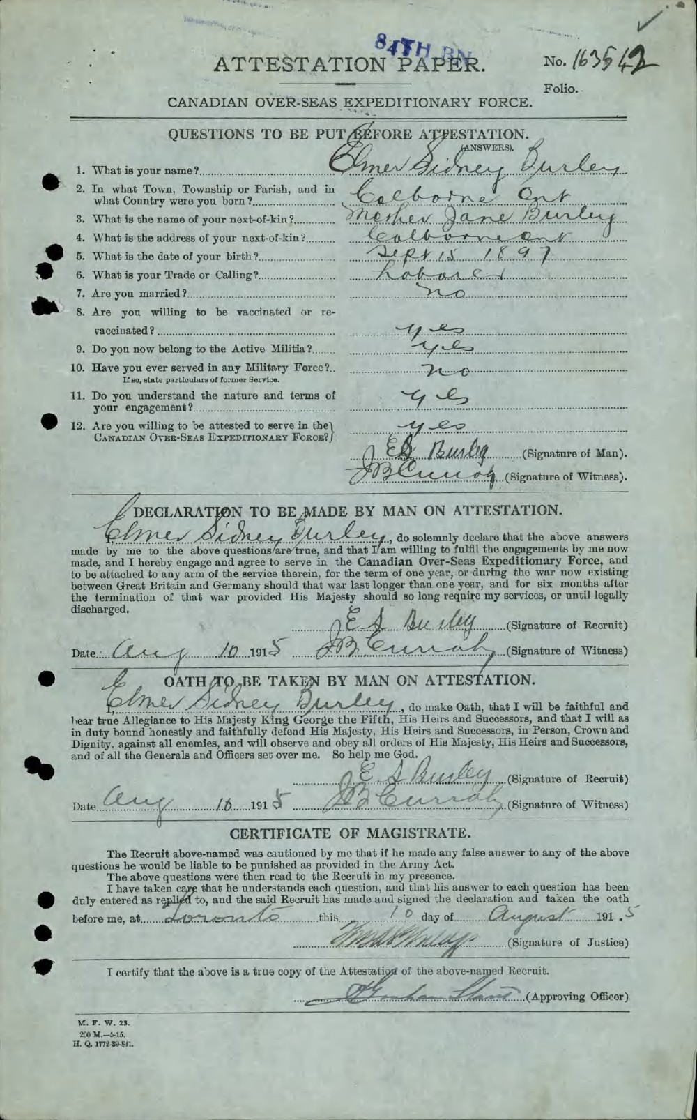 Elmer Sidney Burley, Service Files, WWI, Cramahe Township