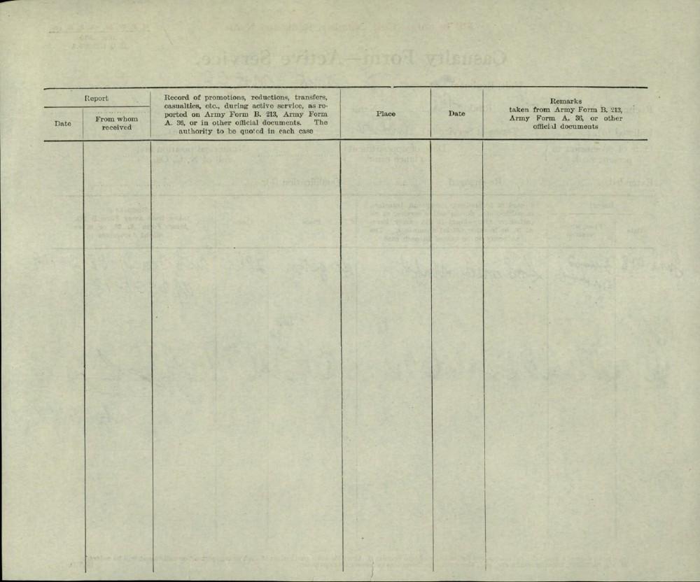 Elmer Sidney Burley, Service Files, WWI, Cramahe Township