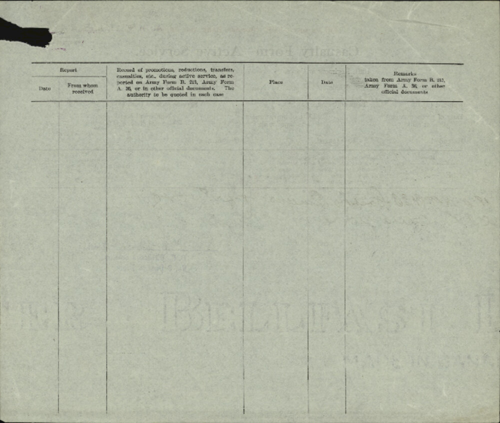 Archie Alexander Morrow, Service Files, WWI, Cramahe Township