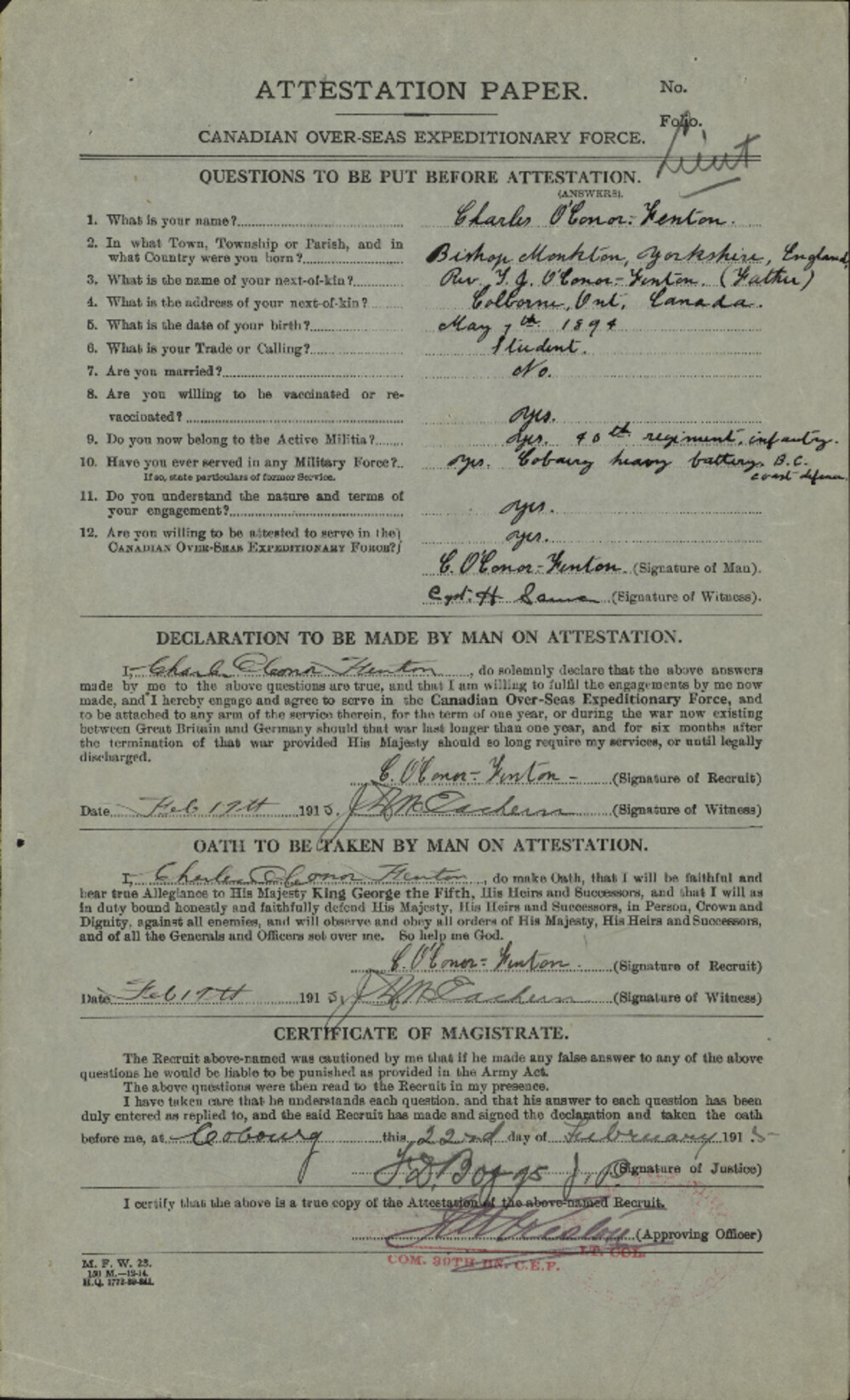 Charles O'Conor-Fenton, Service Files, WWI, Cramahe Township