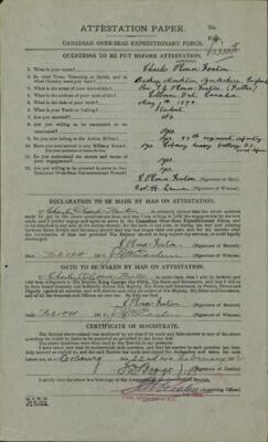 Charles O'Conor-Fenton, Service Files, WWI, Cramahe Township