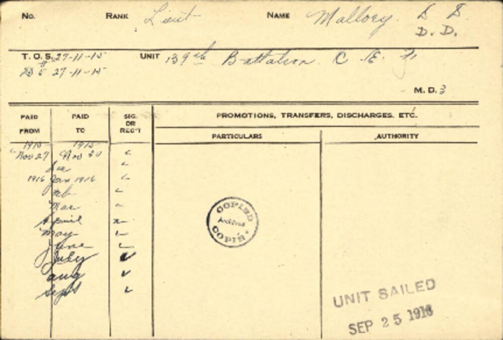 Dallas Dean Mallory, Service Files, WWI, Cramahe Township