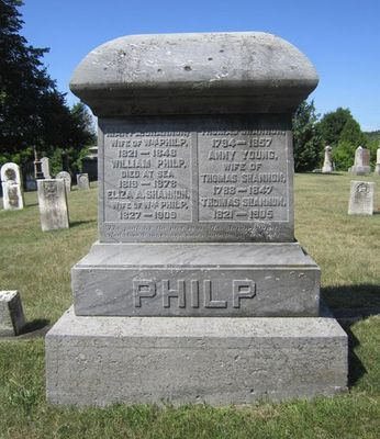 Philp family headstone, Salem Cemetery, Cramahe Township