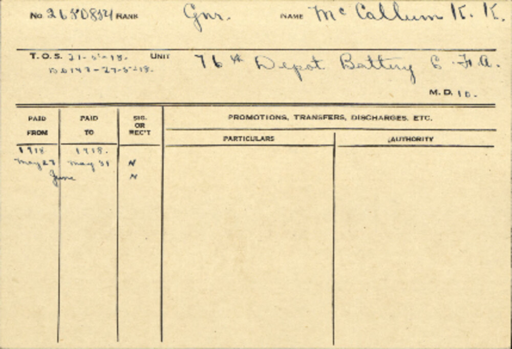 Kenneth Ketchum McCallum, Service Files, WWI, Cramahe Township